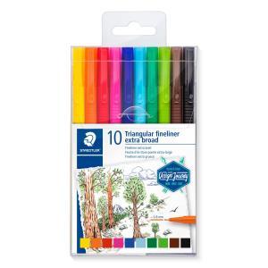 طقم 10 قلم فلومستر فاين سن 0.8 ستيدلر