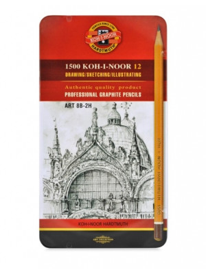 طقم 12 قلم رصاص KOH-I-NOOR ART SET OF 12 GRAPHITE PENCILS 8B - 2H IN METAL CASE