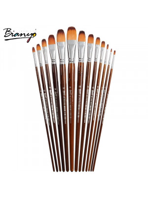 طقم ١٣ فرشة BIANYO 13PCS ARTIST FILBERT NYLON HAIR ACRYLIC PAINTING BRUSH