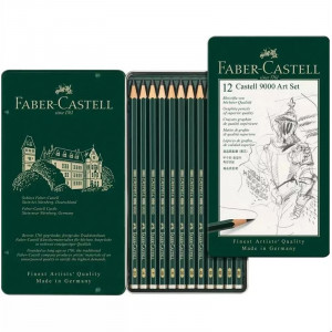 طقم 12 قلم رصاص درجات جرافيت faber Castell 9000