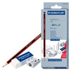 طقم ٦ قلم رصاص درجات   استيكه وبرايه ستيدلر رقم 110