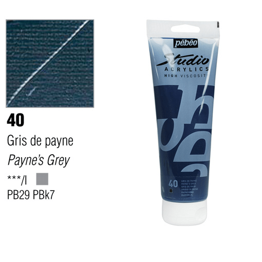 انبوابة اكريلك 100مللي بيبيو -  40 Payne's Grey