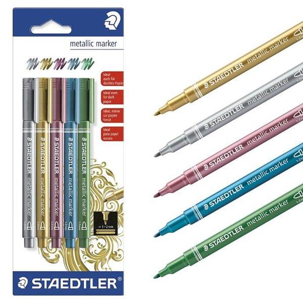 كارت 5 قلم ماركر ميتالك ستيدلر